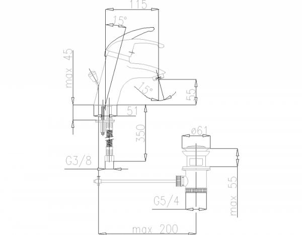 ARMATURA KRAKÓW - Piryt Bateria  umywalkowa stojąca 442-845-00
