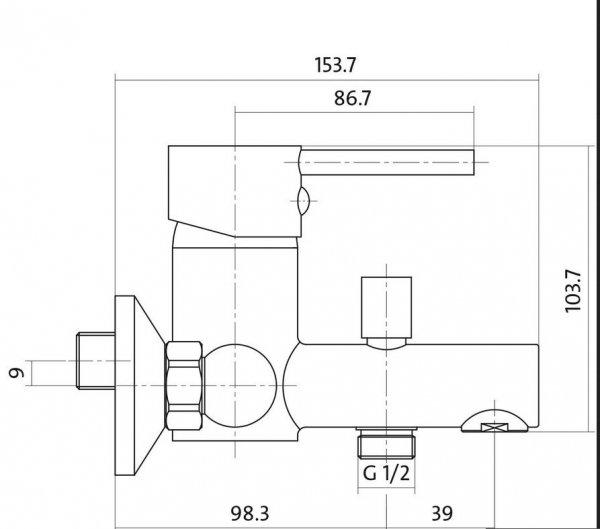 CERSANIT - Bateria wannowo-natryskowa ścienna z przełącznikiem SIMI Basic S951-001