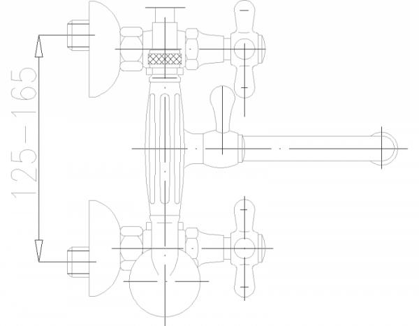 ARMATURA KRAKÓW - Retro Bateria wannowo umywalkowa ścienna 374-148-00