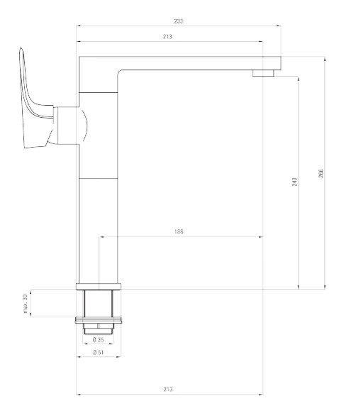 DEANTE - Bateria zlewozmywakowa GARDENIA stojąca z prostokątną wylewką CHROM/CZARNY  BEG B630