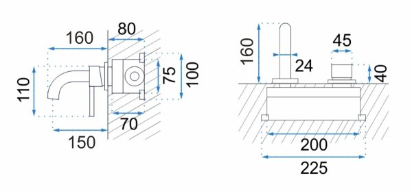 REA - Bateria podtynkowa LUNGO Black Mat czarna matowa + BOX