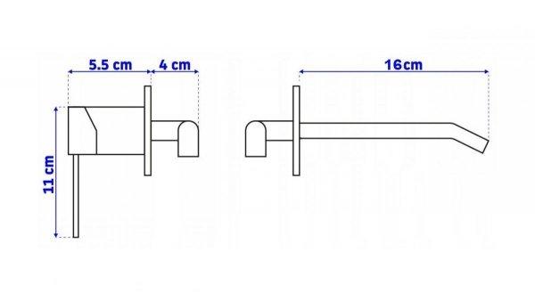 REA - Bateria umywalkowa podtynkowa LUNGO L. GOLD