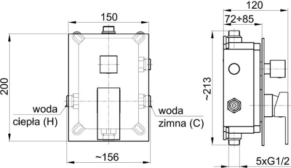 ARMATURA KRAKÓW - HEXA Bateria podtynkowa 3 drożna Quadro 35 3529-411-00