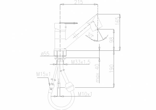 ARMATURA KRAKÓW - Cyrkon Bateria zlewozmywakowa z wyciąganym natryskiem stojąca 583-110-00