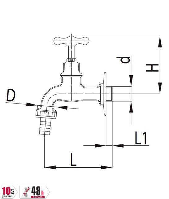 ARMATURA KRAKÓW - Zawór wodny, wypływowy 1/2 ze złączką do węża G3/4 110-312-00