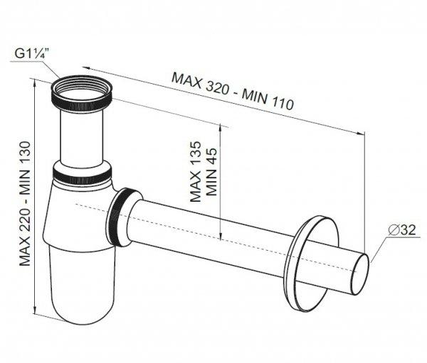 RAWIPLAST - Syfon metalowy A12032M bez korka klik-klak