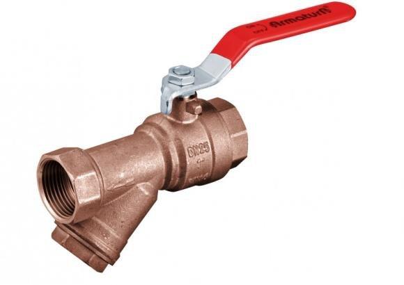 ARMATURA KRAKÓW -zawór wodny z filtrem skośnym, z dźwignią i z dławikiem 708-010-25