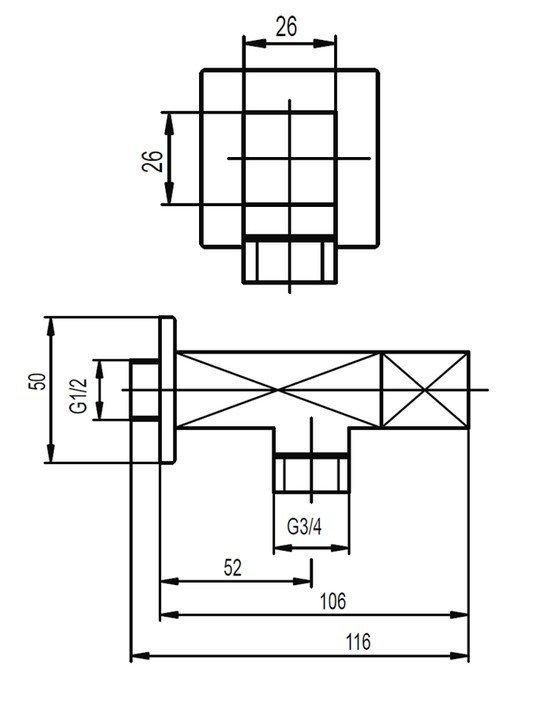 """ARMATURA KRAKÓW - Zawór wodny kątowy przepływowy uchwyt typu """"kwadrat"""" 244-120-00"""