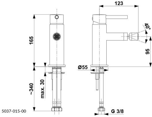 ARMATURA KRAKÓW KFA Bateria bidetowa MOZA BLACK z korkiem klik-klak 5037-015-81