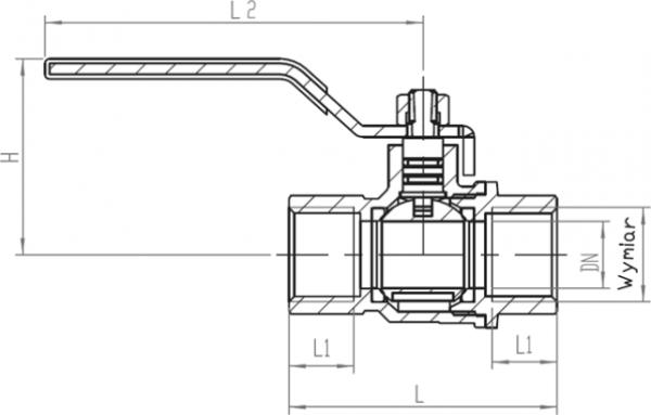ARMATURA KRAKÓW - kurek kulowy do gazu, nakrętno-nakrętny z dźwignią 730-110-25