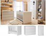 LORA Babyzimmer / Kinderzimmer Sparset | 3-teilig | Kinderbett 140 x 70 cm + Kommode + Schrank 2-türig | weiß matt