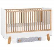 DOTTY Babybett / Kinderbett / Juniorbett mit Bettschublade und Seitenteil | 70 x 140 cm | weiß/grau