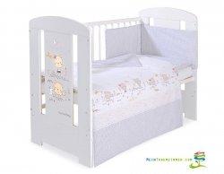 Babybett   Gitterbett   Kinderbett SWEET BEAR CREAM   Kiefer massiv   Weiß lackiert