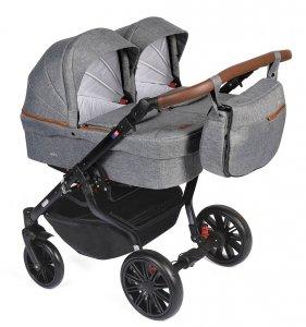 Zwillingskinderwagen<br />/ Geschwisterwagen TWIN Quick CLOUD mit braunen Details| Gestell in Schwarz mit Comfort+ Räder