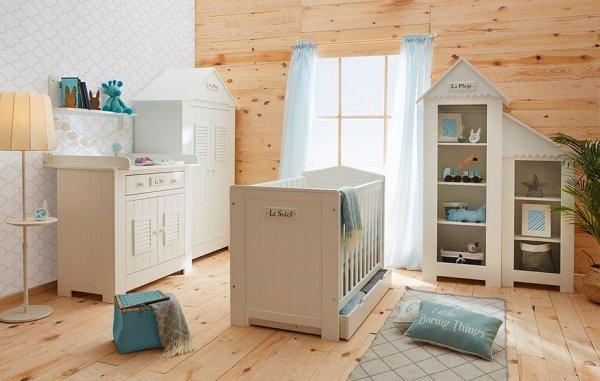 LAMARE Babyzimmer / Kinderzimmer Sparset | 3-teilig | Kinderbett + Kommode + Schrank | weiß