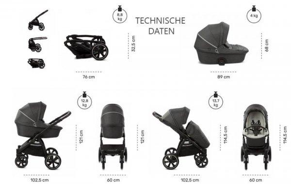 NOORDI Fjordi | Black/ Schwarz | Kombi-Kinderwagen 2 in 1 mit Liegewanne und Sportwagen | oder 3 in 1 mit Autoschale