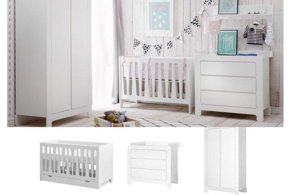 WOLKE Kinderzimmer Set 3-teilig | Kinderbett + Wickelkommode (groß) + Kleiderschrank 2-türig | weiß