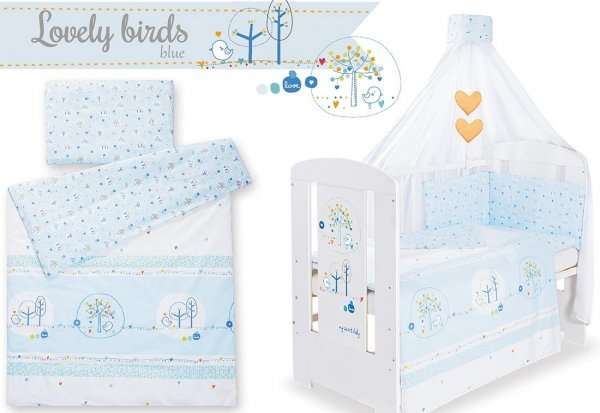 Babybett | Gitterbett | Kinderbett LOVELY BIRDS GREY | Kiefer massiv | Weiß lackiert