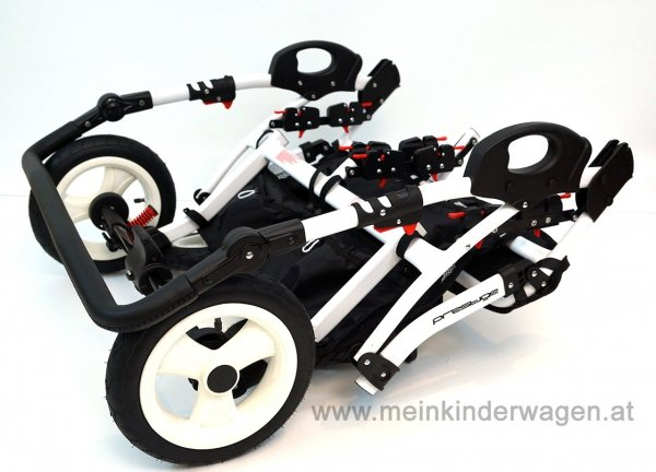 Zwillingskinderwagen/ Geschwisterwagen TWIN Basic, SCHWARZ/ Weiss gepunktet | + Pannensichere Räder KOMFORT+
