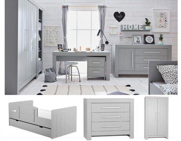 CAROLE Kinder-/Jugendzimmer Sparset | 3-teilig | Jugendbett + Kommode + Schrank | weiß/grau