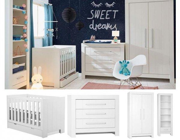 CAROLE Babyzimmer / Kinderzimmer Sparset | 4-teilig | Kinderbett + Wickelkommode + Schrank + Regal | weiß/grau