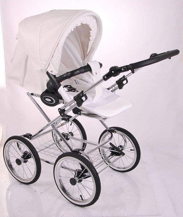 Retro Deluxe ECO-Leder | 2 in 1 mit Liegewanne und Sportwagen | oder 3 in 1 mit Autoschale | Kombi-Kinderwagen | Weiß/Naturweidenkorb