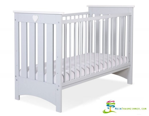 Babybett | Gitterbett | Kinderbett LAURENZO | Buche massiv | Farbe GRAU lackiert
