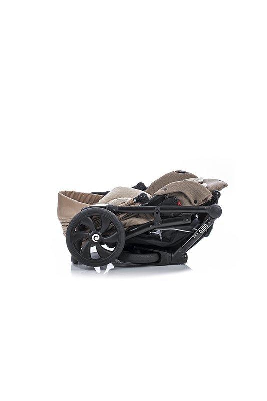 AERO TUTIS Silver Moon | Kombi-Kinderwagen 2 in 1 mit Liegewanne und Sportwagen | oder 3 in 1 mit Autoschale | Eco Leder