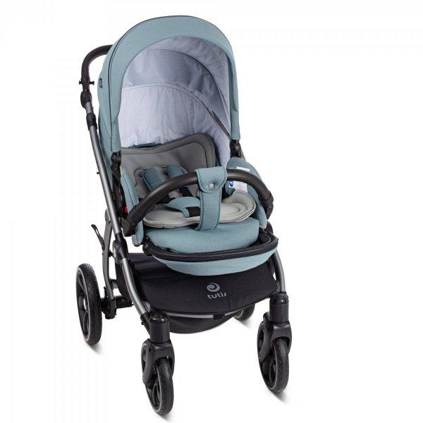UNO+ TUTIS | Menta | Kombi-Kinderwagen 2 in 1 mit Liegewanne und Sportwagen | oder 3 in 1 mit Autoschale | Gestell in Grau