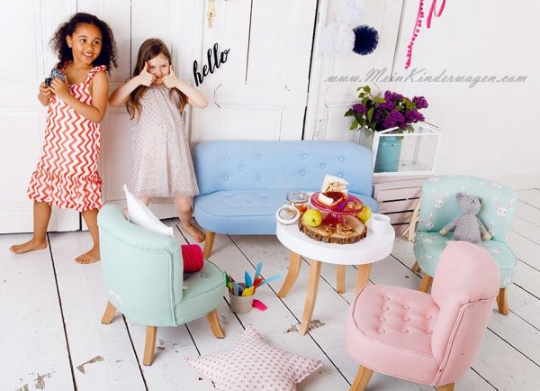 Somebunny Kindersofa | handgemacht & mitwachsend | Leinen | Puderrosa