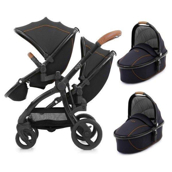 Geschwisterwagen   Zwillingskinderwagen  EGG Stroller   + 2 Liegewannen / 2 Sportsitze + Sitzauflage gratis    BabyStyle   Espresso