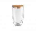 Szklanka termiczna AMBEO z przykrywką z bambusa 450 ml (bambusowy)