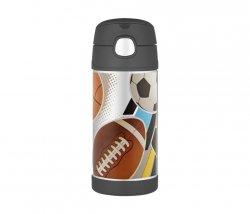 Kubek dla dzieci ze słomką Thermos FUNtainer 355 ml (stalowy/czarny) motyw sport