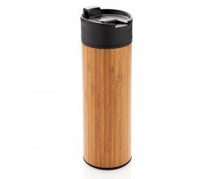 Kubek termiczny z bambusa i stali 450 ml AMBEO PROTECT szczelny (bambusowy)