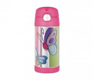 Kubek dla dzieci ze słomką Thermos FUNtainer 355 ml (stalowy/różowy) motyw motyl