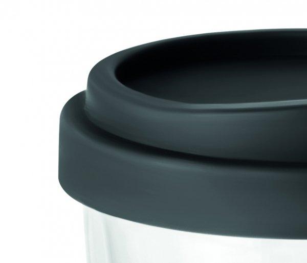 Kubek termiczny szklany TUMBI Glass 350 ml bezbarwny/czarny