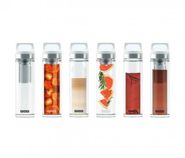 Termos szklany SIGG WMB z zaparzaczem HOT & COLD Glass 400 ml Czerwony