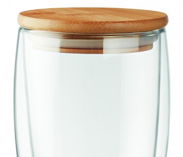Szklanka termiczna AMBEO z przykrywką z bambusa 450 ml bambusowy