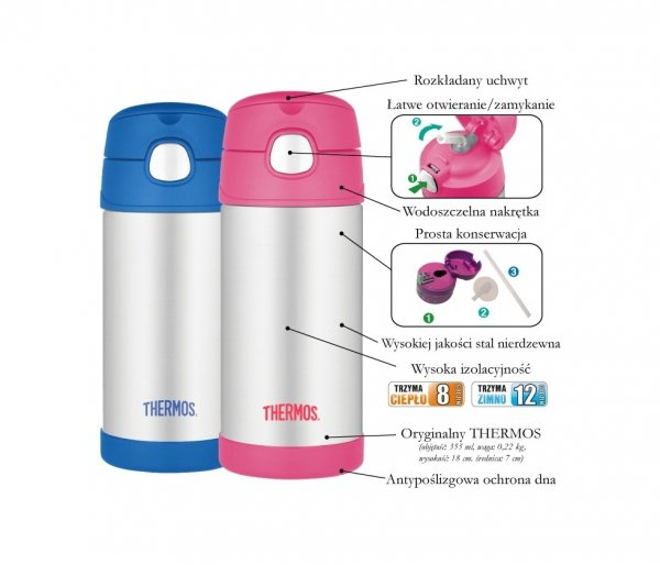 Kubek dla dzieci ze słomką Thermos FUNtainer 355 ml stalowy/różowy