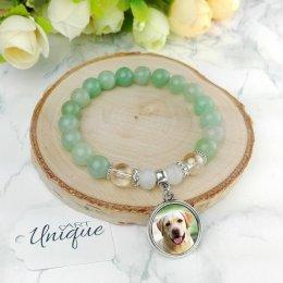 Bransoletk z Twoim zdjęciem • zielony awenturyn, kryształki