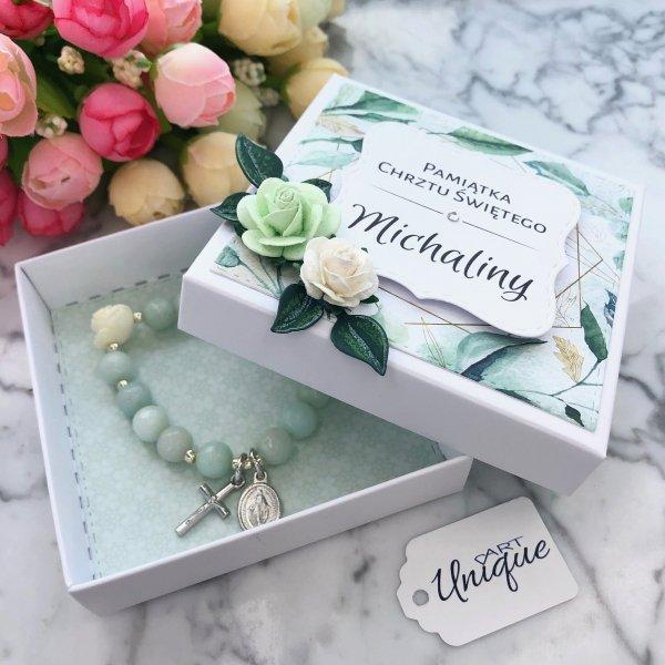Różaniec bransoletka ✞ róża z laki i jadeit ✞ PAMIĄTKA CHRZTU lub KOMUNII