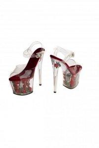 Buty- platformy z różami- czerwone 38