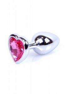 Plug-Jewellery Silver  Heart PLUG- Pink