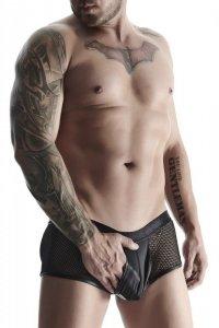 męskie szorty z wetlooka i elastycznej siatki z otwartym tyłem M