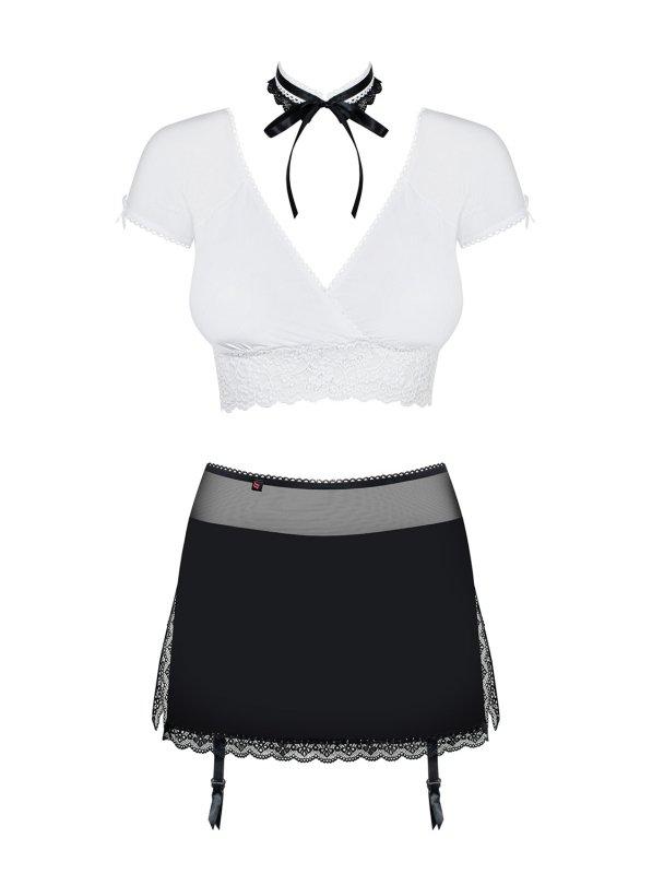 Bielizna-Secretary kostium 5-częściowy czarny  S/M