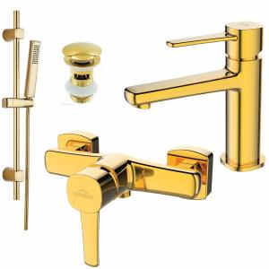 Bateria natryskowa/umywalkowa Invena GLAMOUR gold z zestawem prysznicowym na drążku BN-02-009
