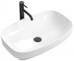 Umywalka ceramiczna nablatowa Gizel biała 60x38 REA-U9605