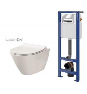 Zestaw Cersanit miska WC City Oval CleanOn z deską sedesową Slim i stelaż podtynkowy Aqua 22 z przyciskiem Presto chrom S701-449