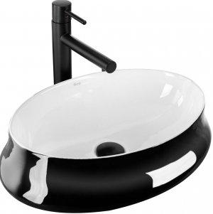 Umywalka ceramiczna Angela White/Black 52,5x37 REA-U9635