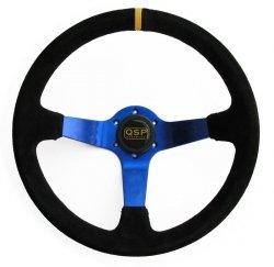 Kierownica zamszowa 3 ramienna QSP 70 niebieska